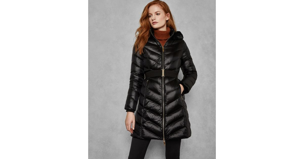 076477b5b179 Ted Baker Chevron Long Quilted Jacket in Black - Lyst