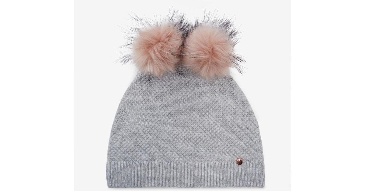 76fe56ea3e0ee Lyst - Ted Baker Double Pom-pom Hat in Gray