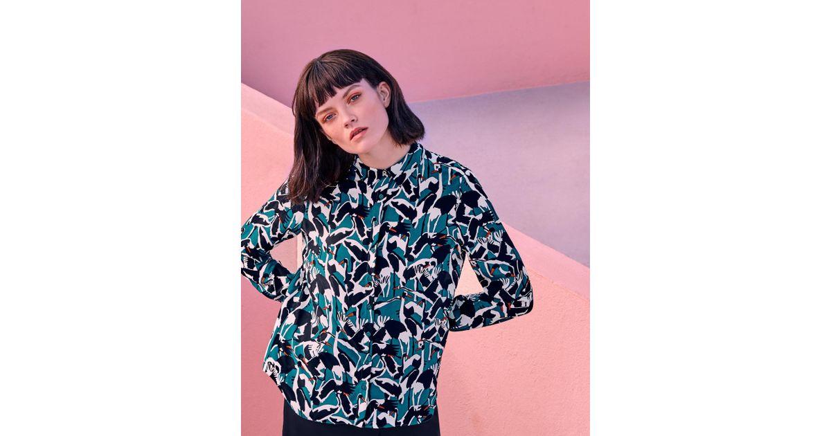 c3940f0ffde0 Ted Baker Crane Print Silk Shirt in Blue - Lyst