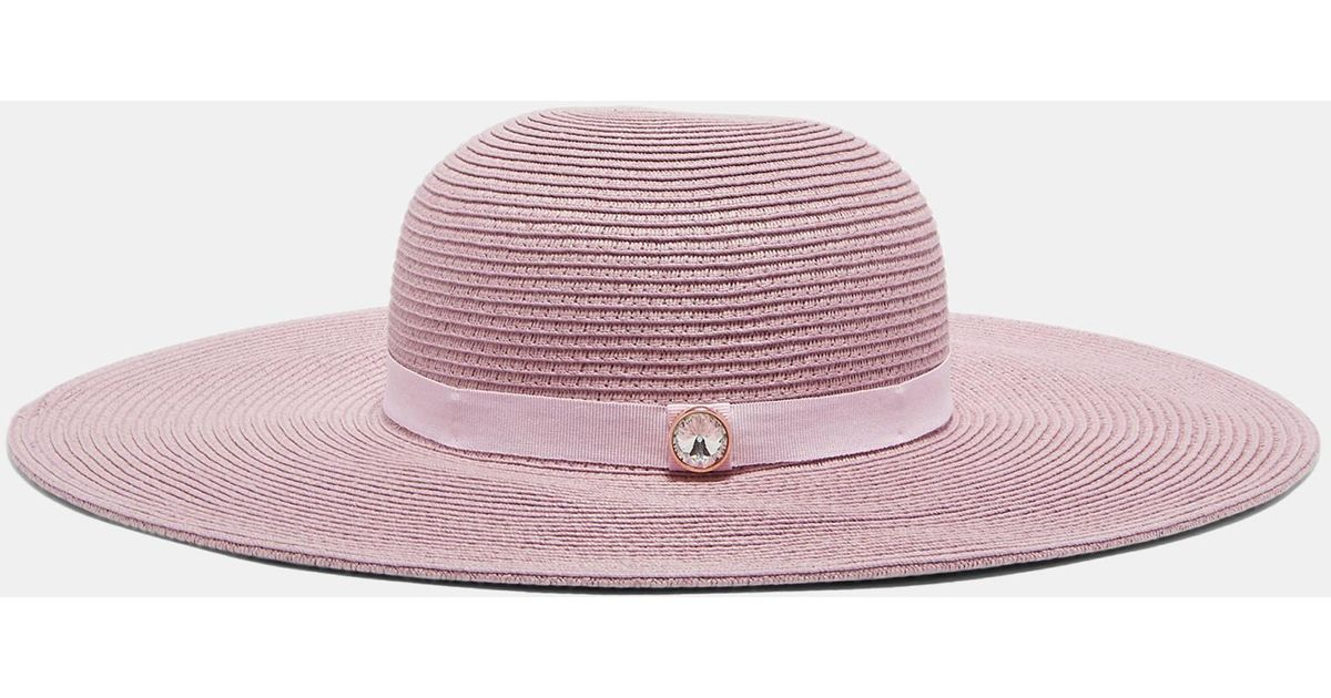 Lyst - Ted Baker Gem Detail Floppy Hat in Pink 3694f94ab98
