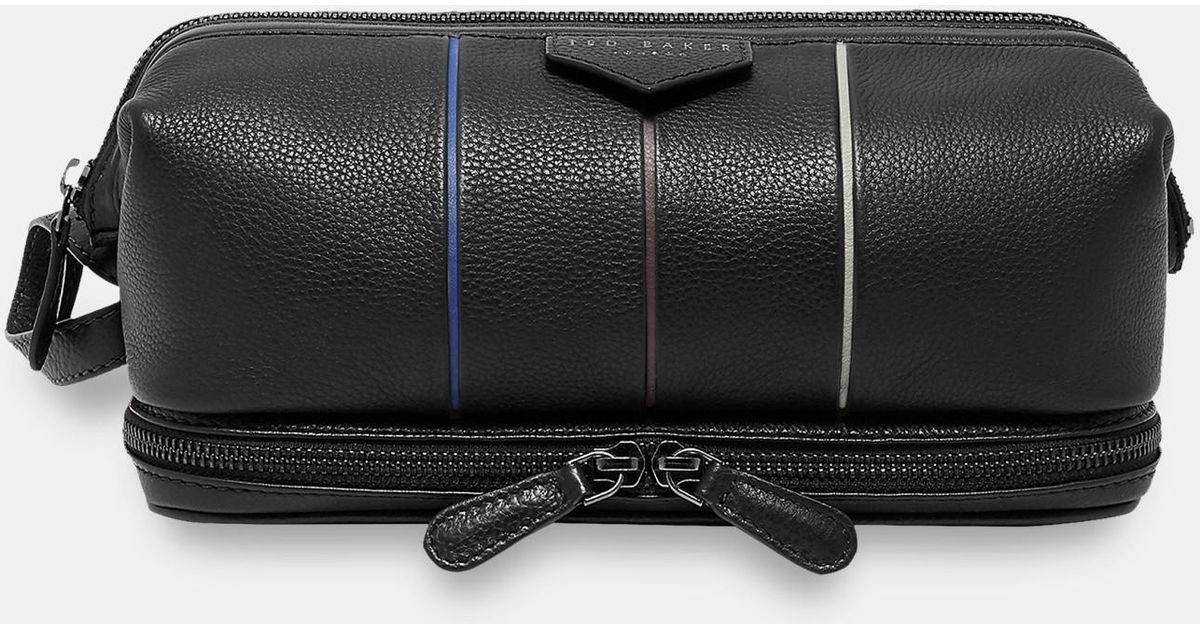 9a740e678 Ted Baker Striped Detail Leather Wash Bag in Black for Men - Lyst