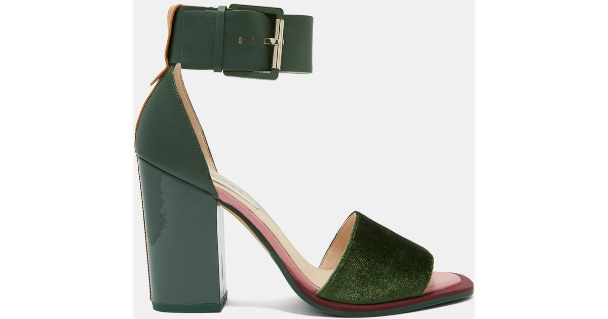 b107468a090 Ted Baker Block Heel Sandals in Green - Lyst