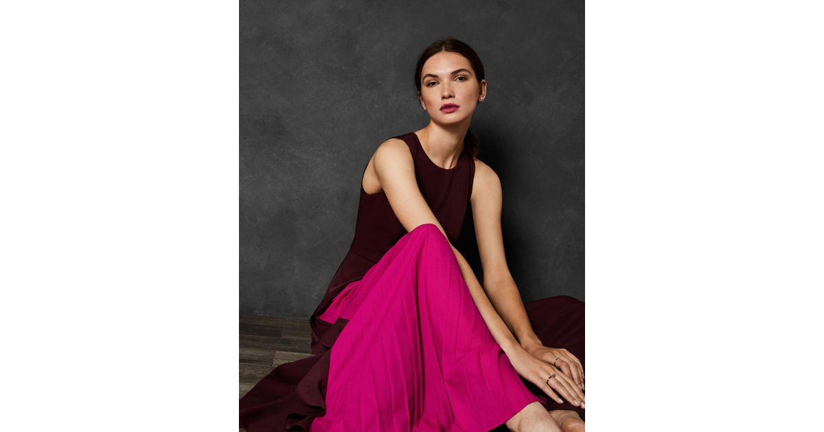 a81e61c52654 Lyst - Ted Baker Pleated Panel Maxi Dress in Purple