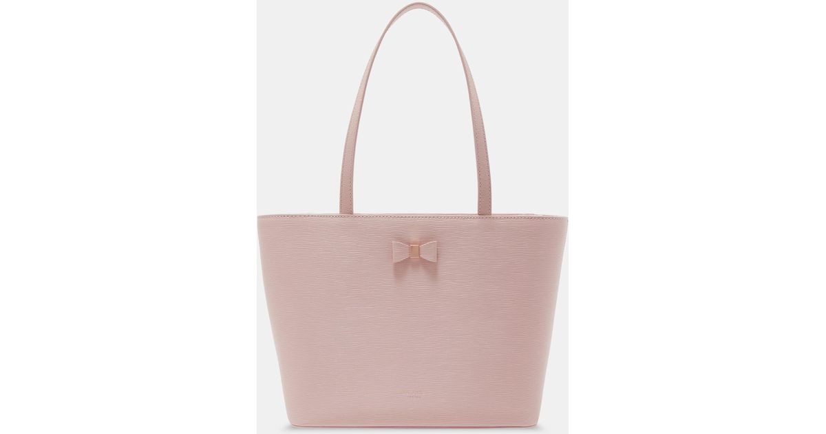 34b14eae5 Ted Baker Bow Detail Small Leather Shopper Bag in Pink - Lyst