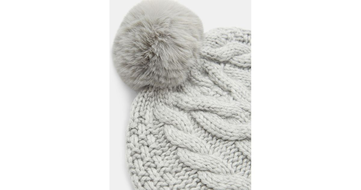 e7ed16768991e Ted Baker Quirsa Cable Knit Pom Hat in Gray - Save 54% - Lyst