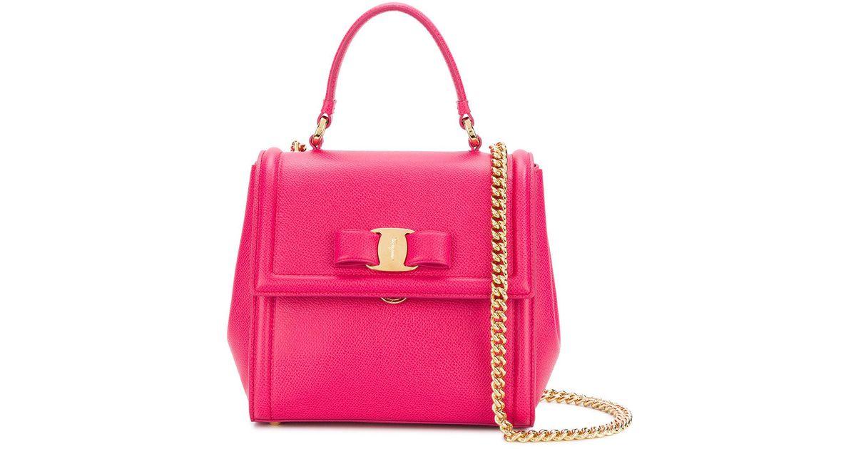 041aa4e185bd Lyst - Ferragamo Carrie Small Leather Bag in Purple