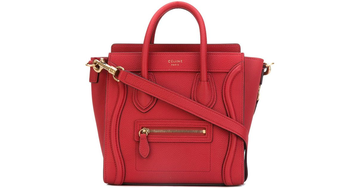 Céline Nano Luggage Leather Bag in Red - Lyst d813f00b7e35c