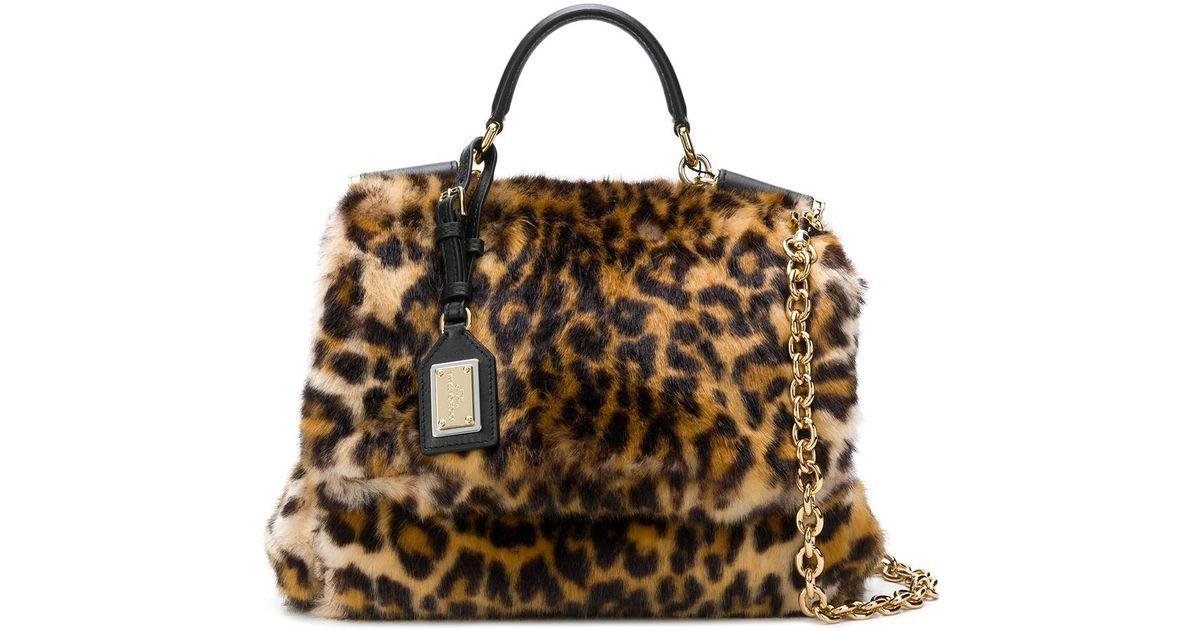 Dolce   Gabbana Miss Sicily Leopard Print Fur Handbag in Natural - Lyst e2a0ae1ab6da7