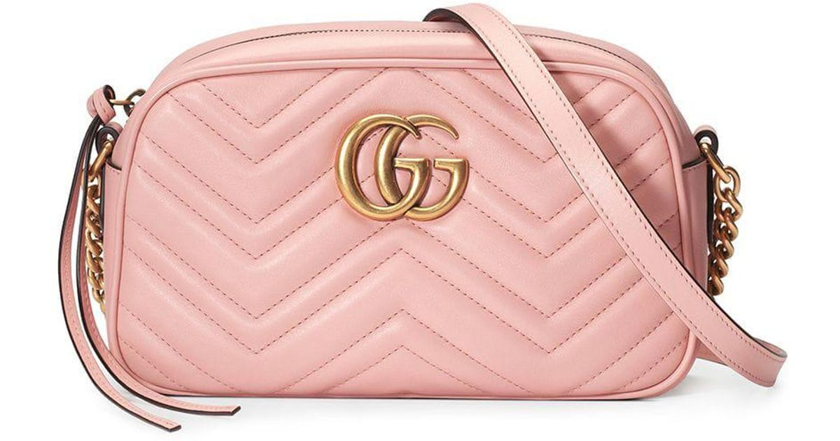 626621cf8ce275 Lyst - Gucci Small Marmont Gg Shoulder Bag in Pink