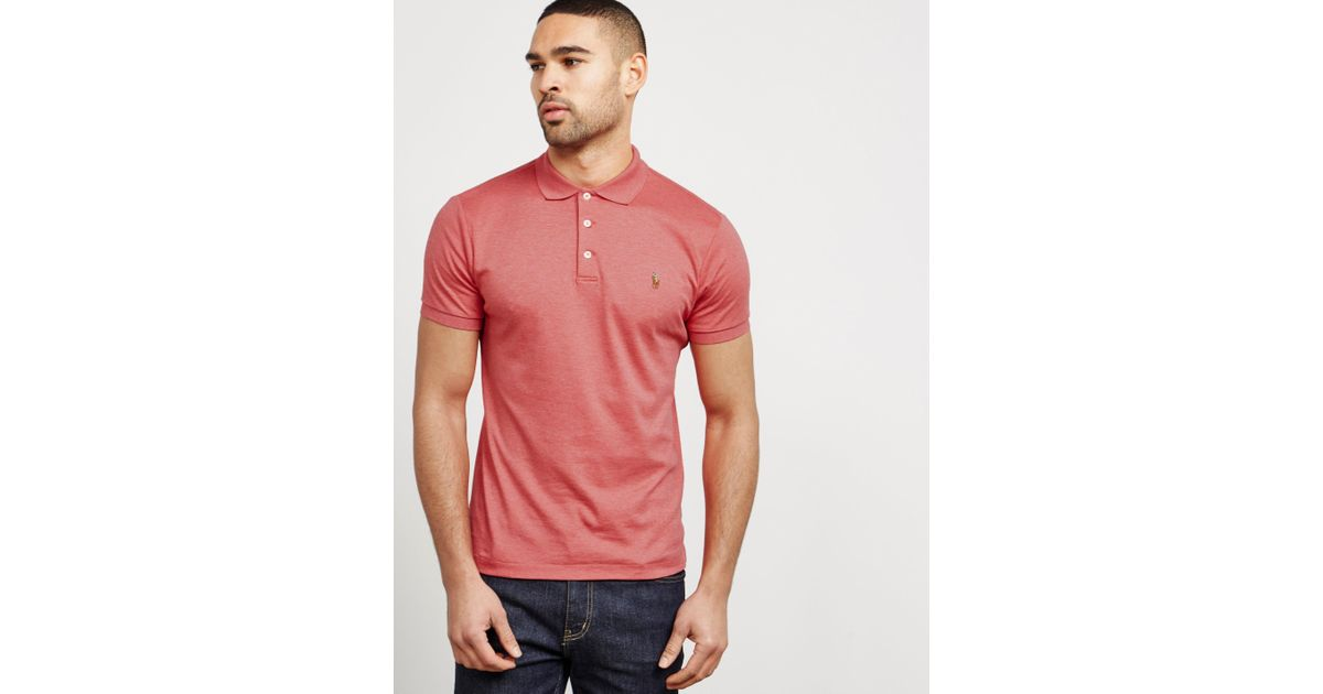 44aa6d708 ... free shipping lyst polo ralph lauren mens pima short sleeve polo shirt  pink in pink for