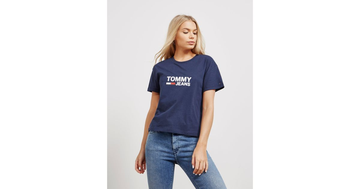 ... Tommy Hilfiger Womens Flag Short Sleeve T shirt Navy Blue in Blue Lyst 73a79ed2e