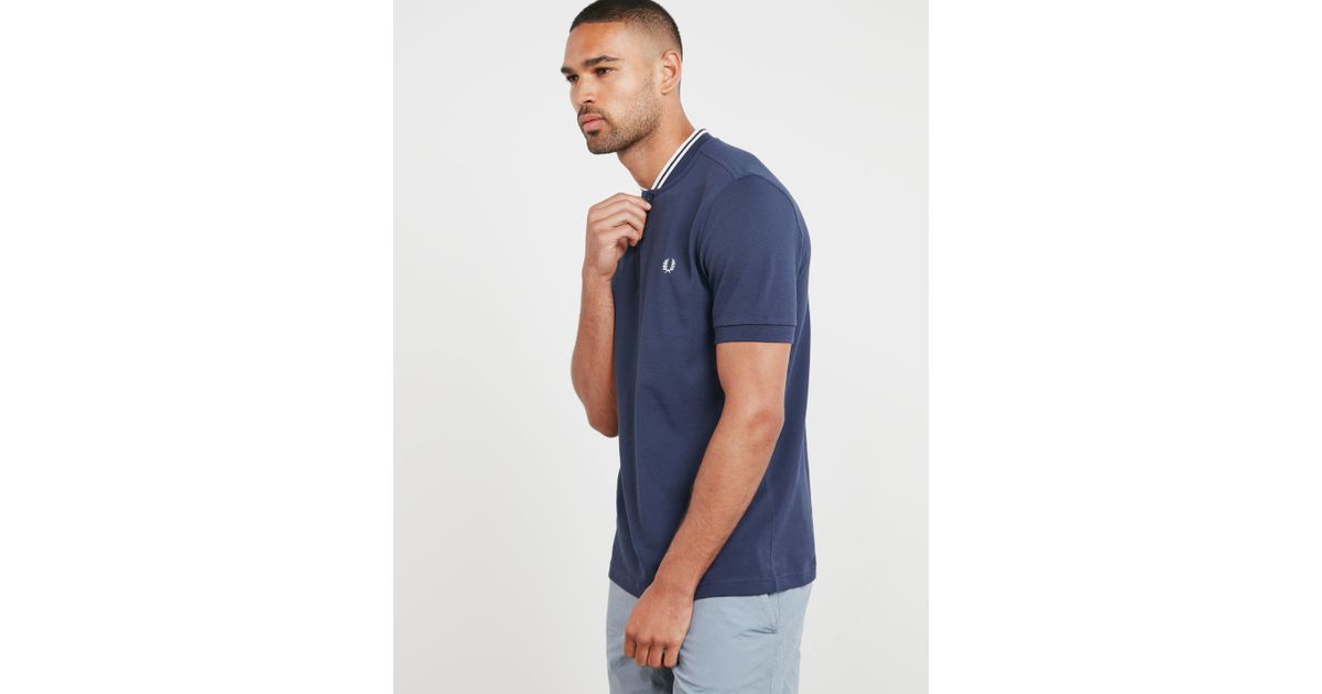 7804d620 Fred Perry Bomber Collar Short Sleeve Polo Shirt Navy Blue in Blue for Men  - Lyst
