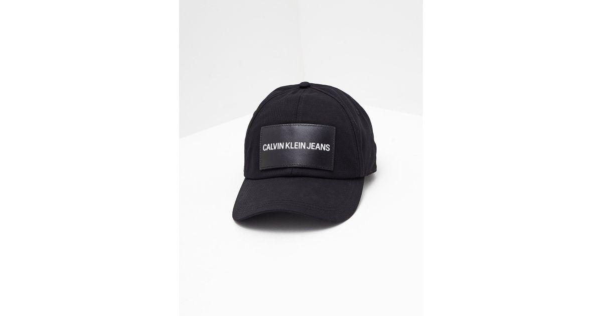 39e280b87641b Calvin Klein Patch Logo Cap Black in Black - Lyst