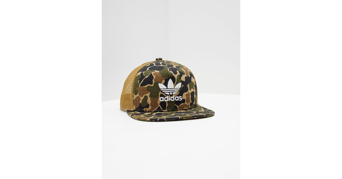 46996739 Adidas Originals Mens Trefoil Trucker Cap Camo in Green for Men - Lyst