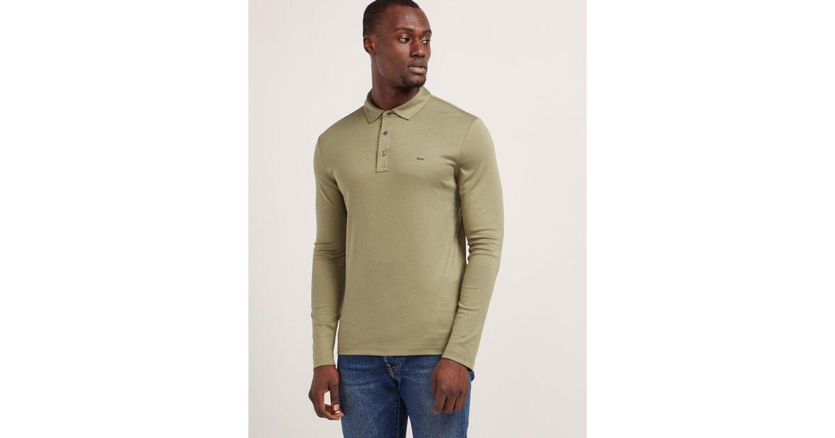 4b377d67 Michael Kors Mens Sleek Long Sleeve Polo Shirt Khaki in Natural for Men -  Lyst