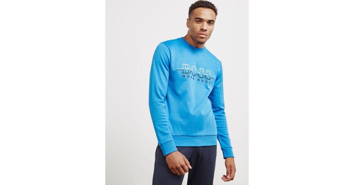 73faaca63 BOSS Mens Salbo Crew Neck Sweatshirt Blue in Blue for Men - Lyst