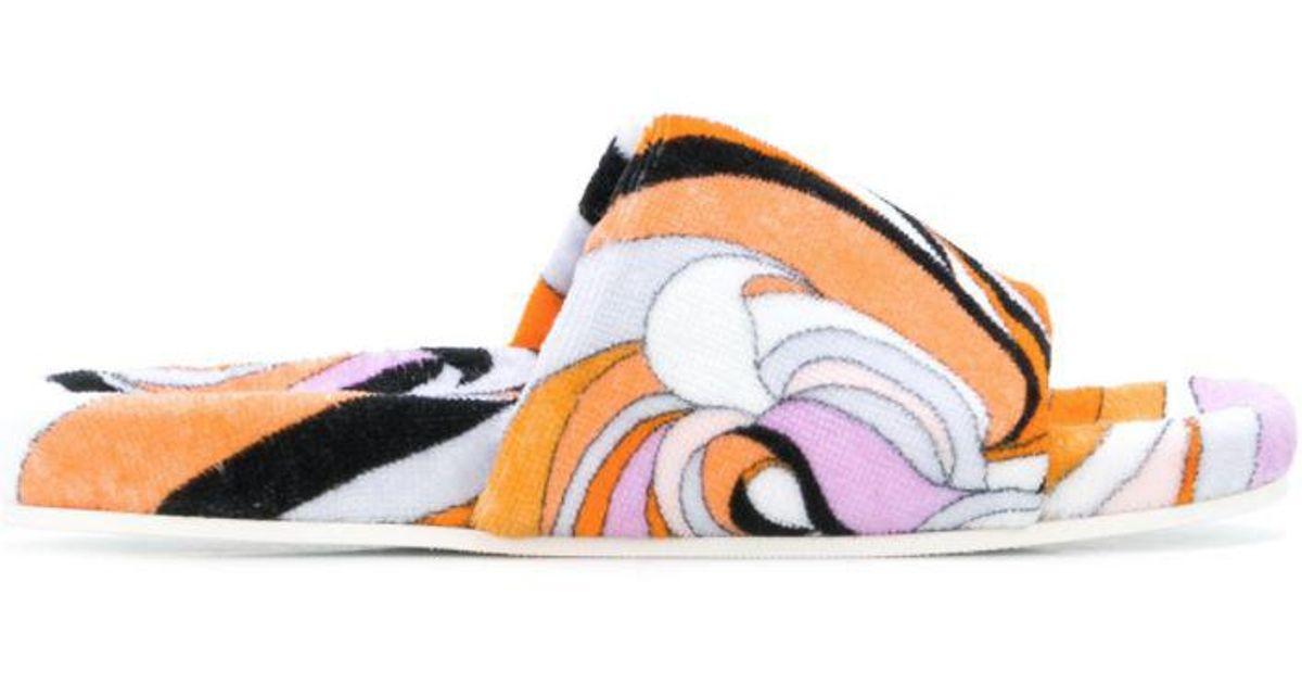 printed toe ring slides - Yellow & Orange Emilio Pucci OsIq58Qkk5