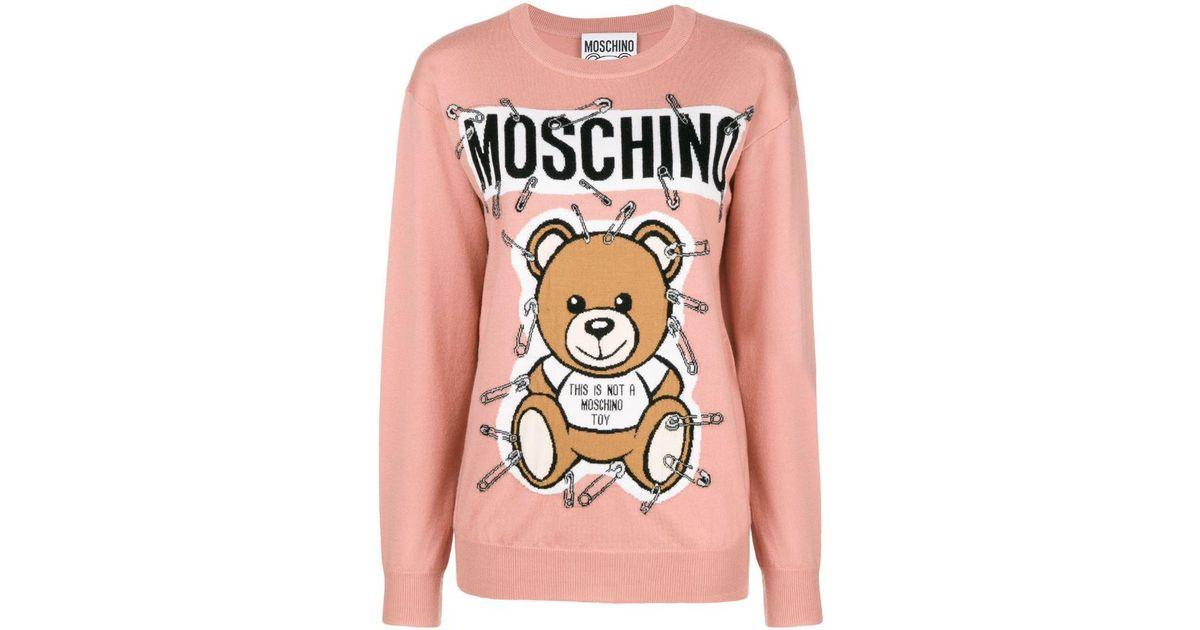 640d74d07cd Lyst - Moschino Teddy Bear Intarsia Sweater in Black