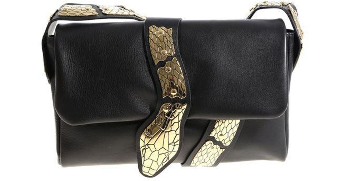 Red Valentino Black shoulder bag with golden snake XMEQ9kGs56