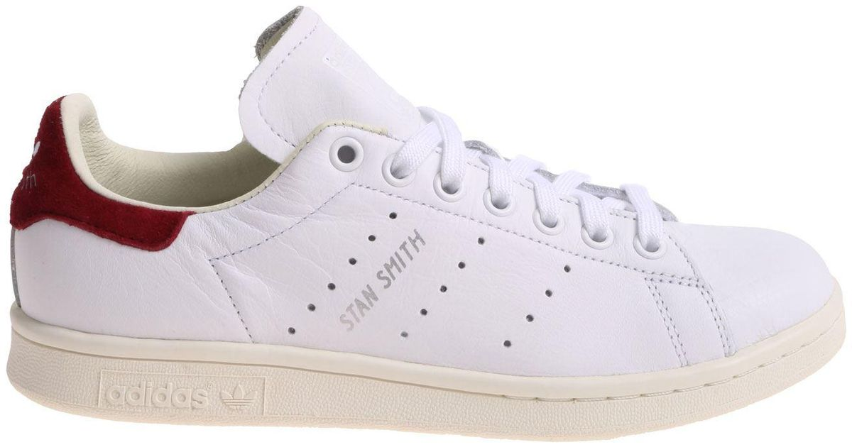 Adidas Originals Stan Smith W White And Burgundy Sneakers in White - Lyst