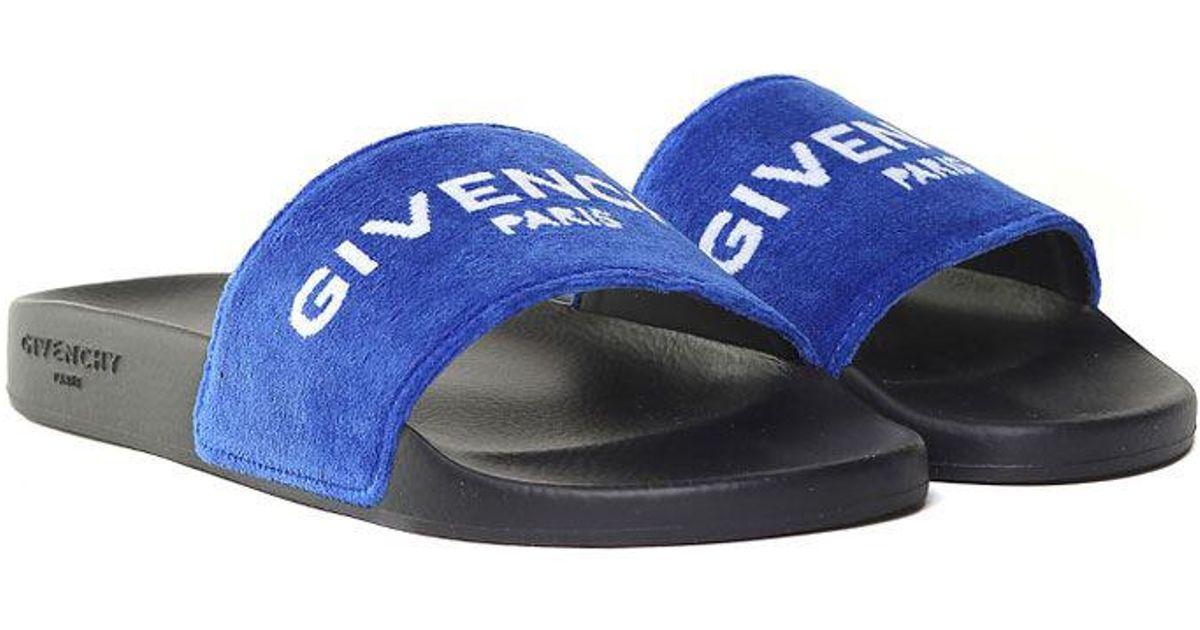 609c1400e871 Lyst - Givenchy Blue Velvet Slides With Logo in Blue for Men