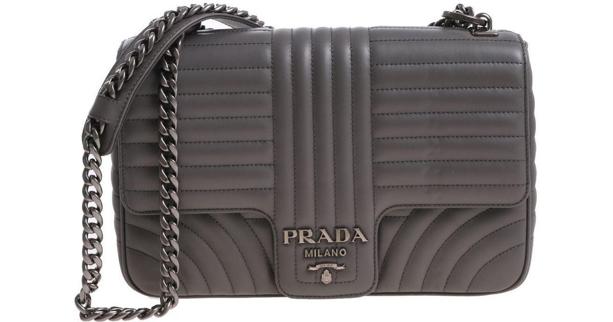 dce01be65934 ... sale lyst prada gray leather bag with logo in gray c2cf5 264fe
