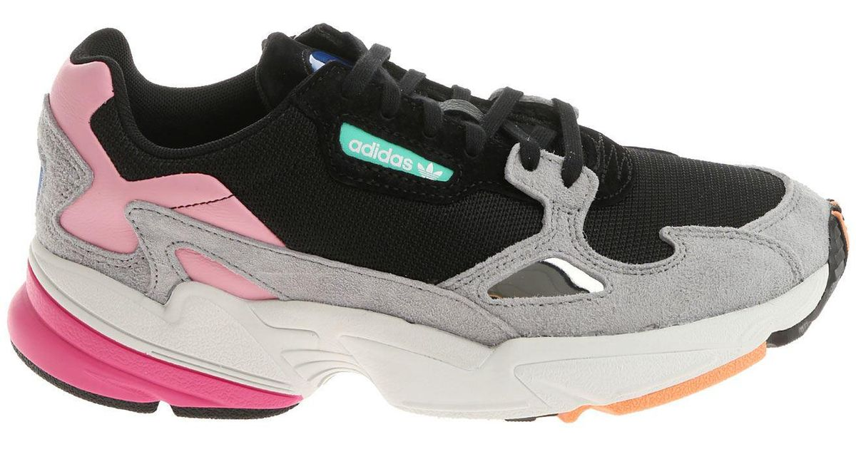 info for 4ea14 9e124 Lyst - adidas Originals Black Pink And Grey Falcon W Sneaker
