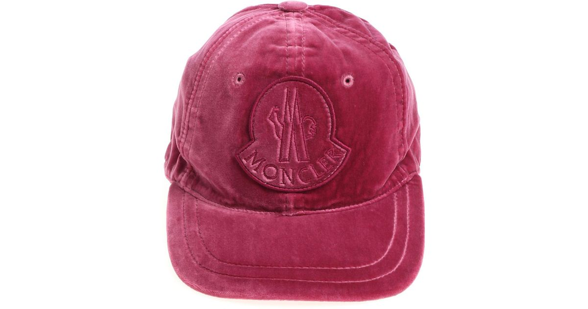 afb075b560eacf Moncler Magenta Velvet Cap With Logo in Red - Lyst