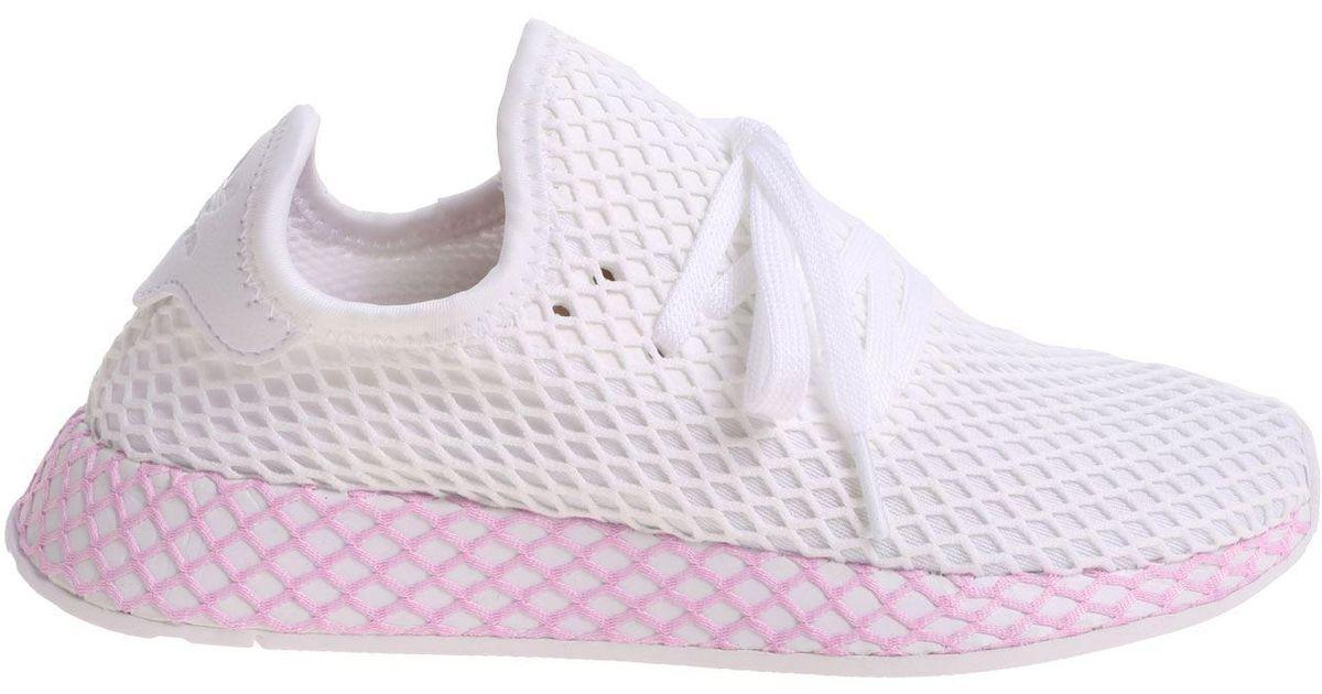 27e32ff850e6f Adidas Originals Deerupt White W Sneakers in White - Lyst