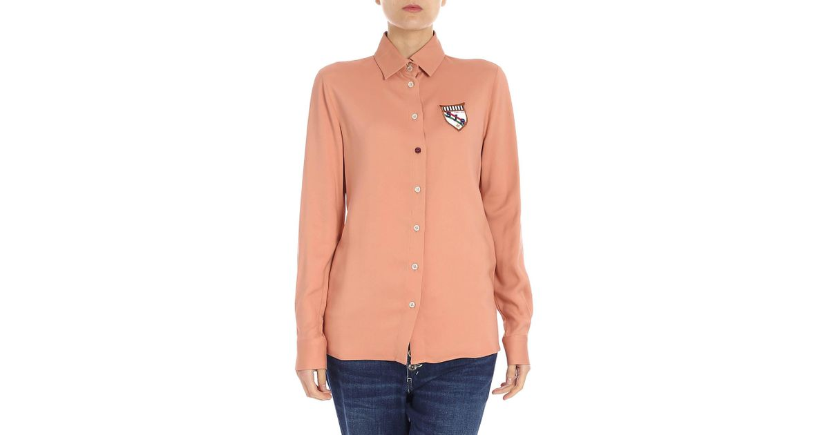 ff076b38 Stella Jean Salmon Pink Shirt With Patches in Pink - Lyst