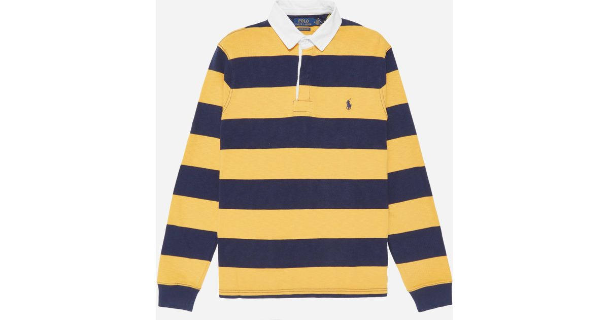 ee89bdc5819ff Lyst - Polo Ralph Lauren Long Sleeve Rugby Shirt in Yellow for Men