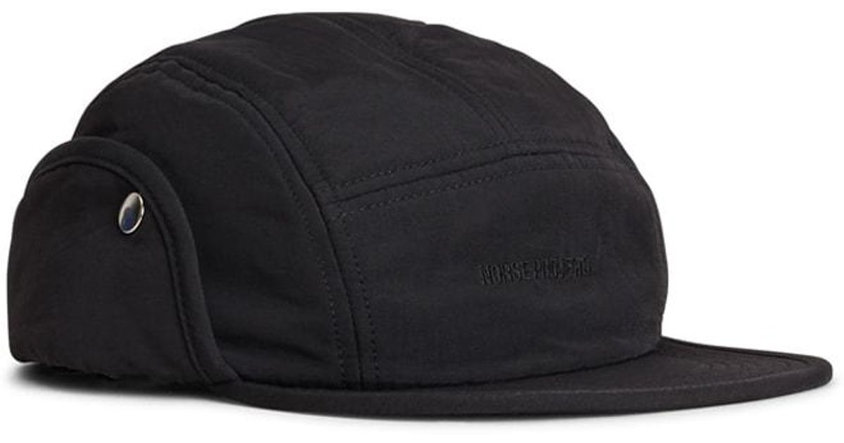 b5b773f367055 Norse Projects Norse 6 Panel Ear Flap Nylon Black in Black for Men - Lyst