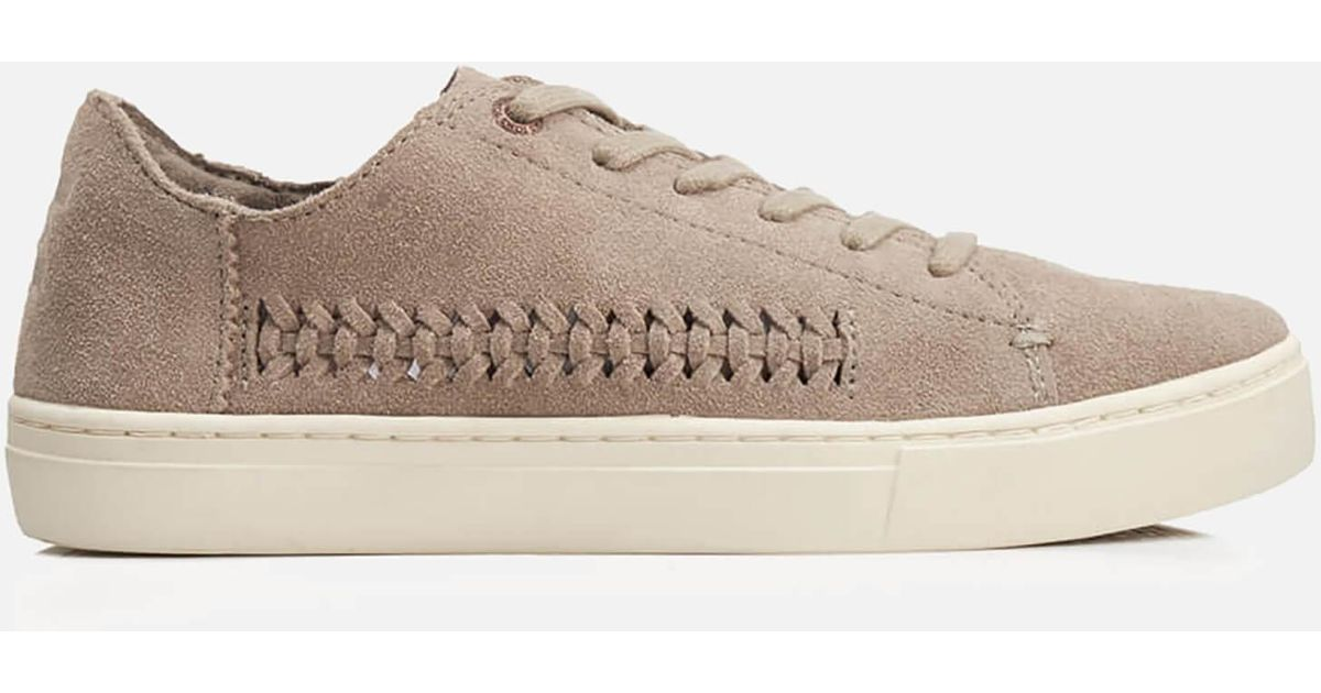 5d900024513 Lyst - TOMS Lenox Suede Woven Panel Trainers in Natural