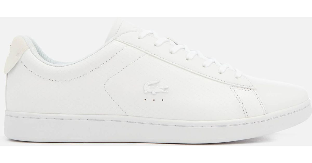 19271c67a83593 Lacoste Carnaby Evo 318 7 Croc Leather Trainers in White for Men - Lyst