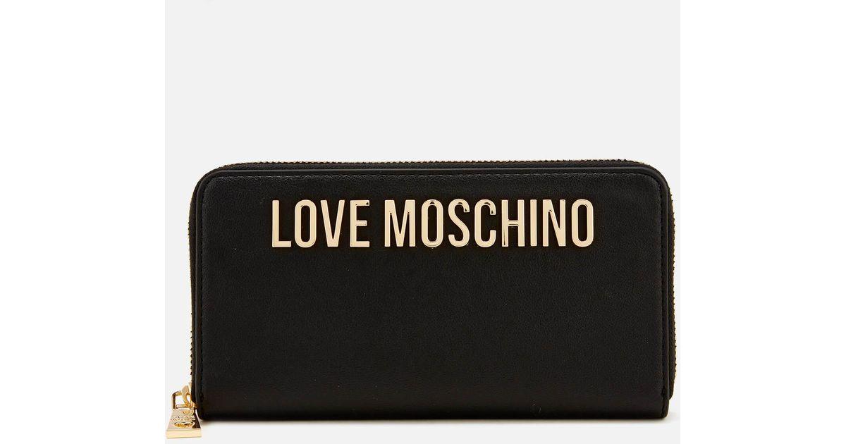 85e3c86844 Love Moschino Classic Logo Zip Around Purse in Black - Lyst