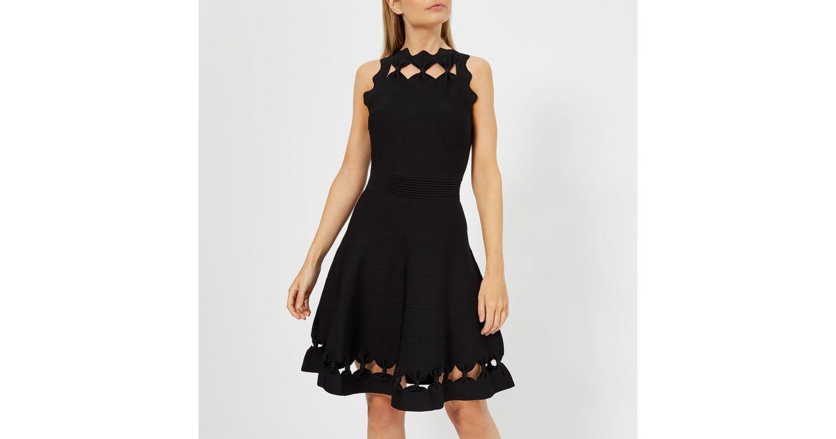 Ted Baker Cherina Bow Detail Knitted Skater Dress in Black - Lyst 7c2730242