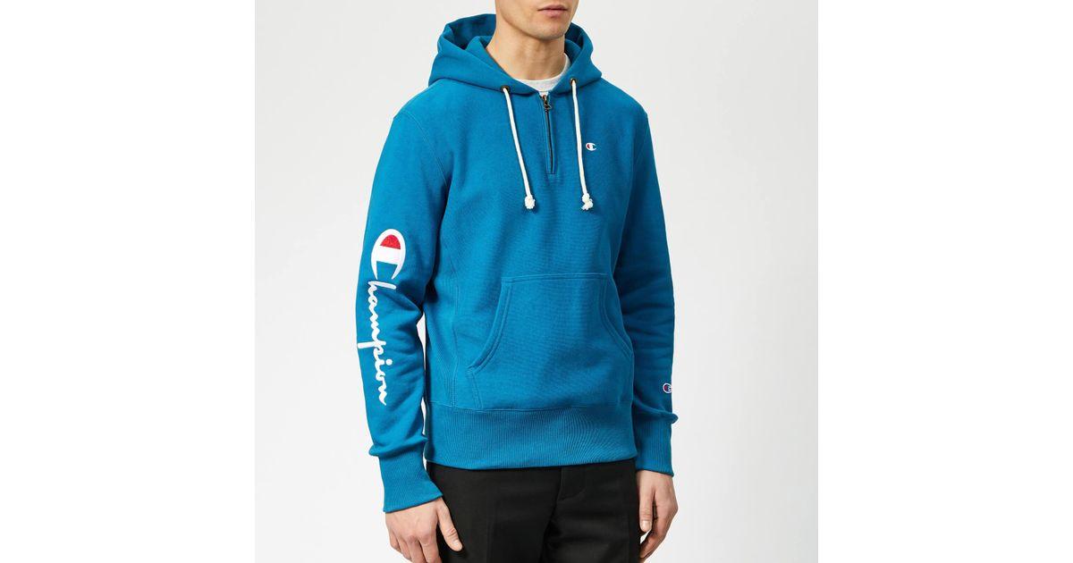 dc925a08 Champion Half Zip Over Head Hoodie in Blue for Men - Lyst