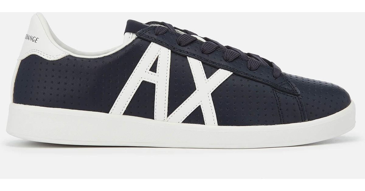a4baac3cb36 Lyst - Armani Exchange Perforated Leather Low Top Trainers in Blue for Men