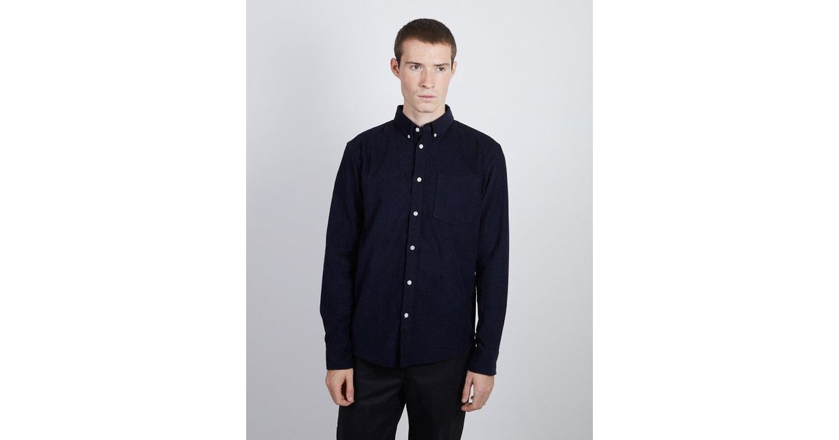 ec8888393f90 The Idle Man Corduroy Shirt Navy in Blue for Men - Lyst