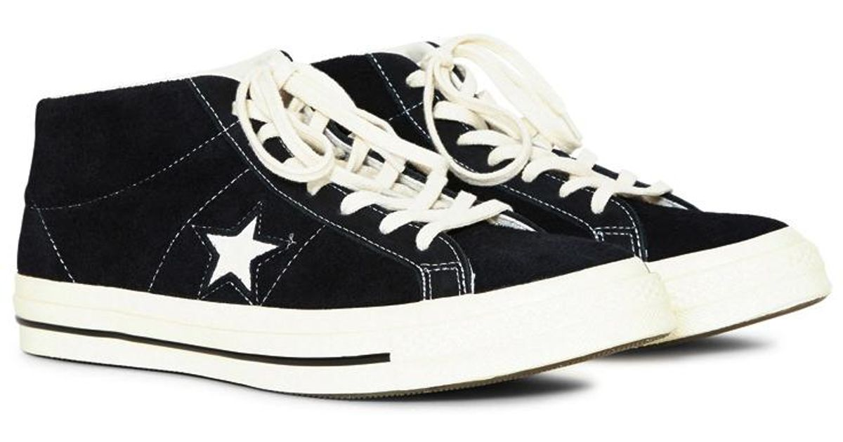 2a62472b9350 Lyst - Converse One Star  74 Vintage Suede Mid Black in Black for Men