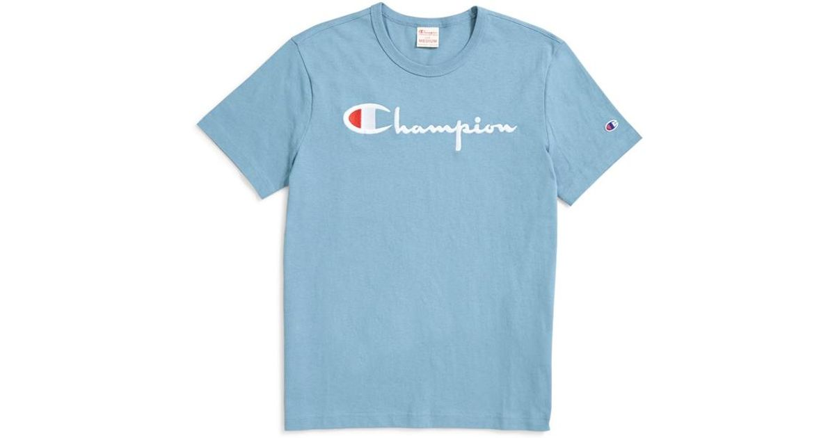 8c5f5c73a65e Champion Reverse Weave Script Logo Short Sleeve T-shirt Light Blue in Gray  for Men - Lyst