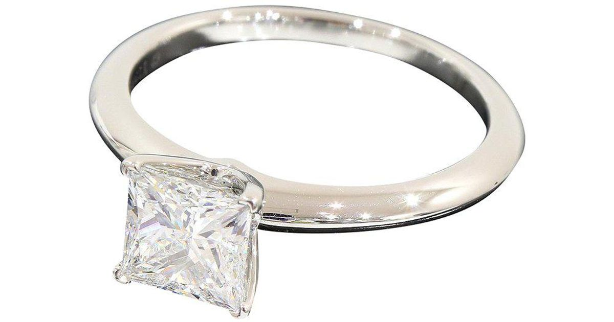71ddae1bd Tiffany & Co. Classic Princess Cut Diamond Platinum Engagement Ring in  Metallic - Lyst