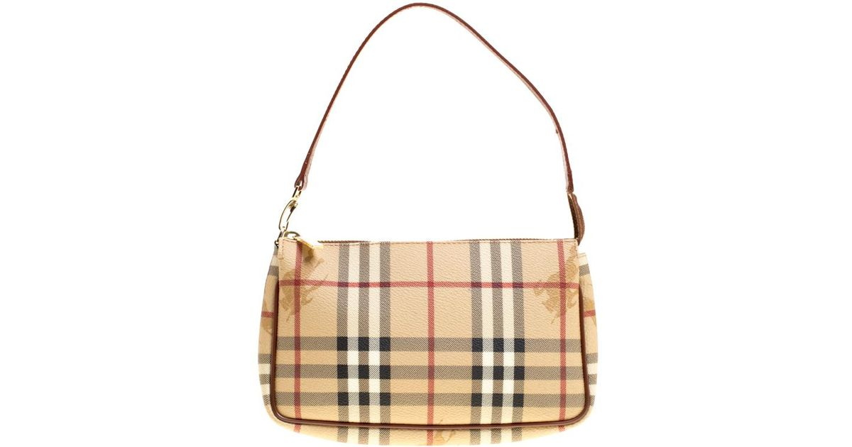 b942a74ad494 Lyst - Burberry Haymarket Check Pvc Pochette in Brown