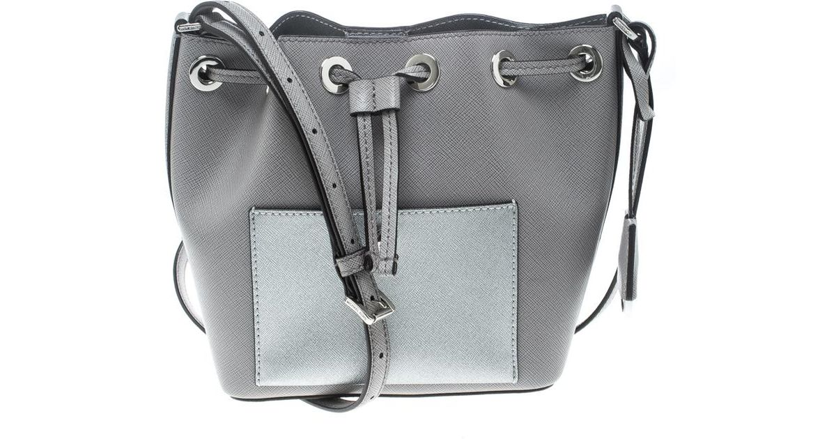 59998b86e718 MICHAEL Michael Kors Leather Small Greenwich Drawstring Bucket Bag in Gray  - Lyst