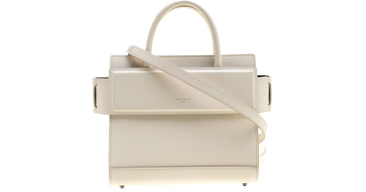 9acd9227be65 Lyst - Givenchy Off Leather Mini Horizon Crossbody Bag in White