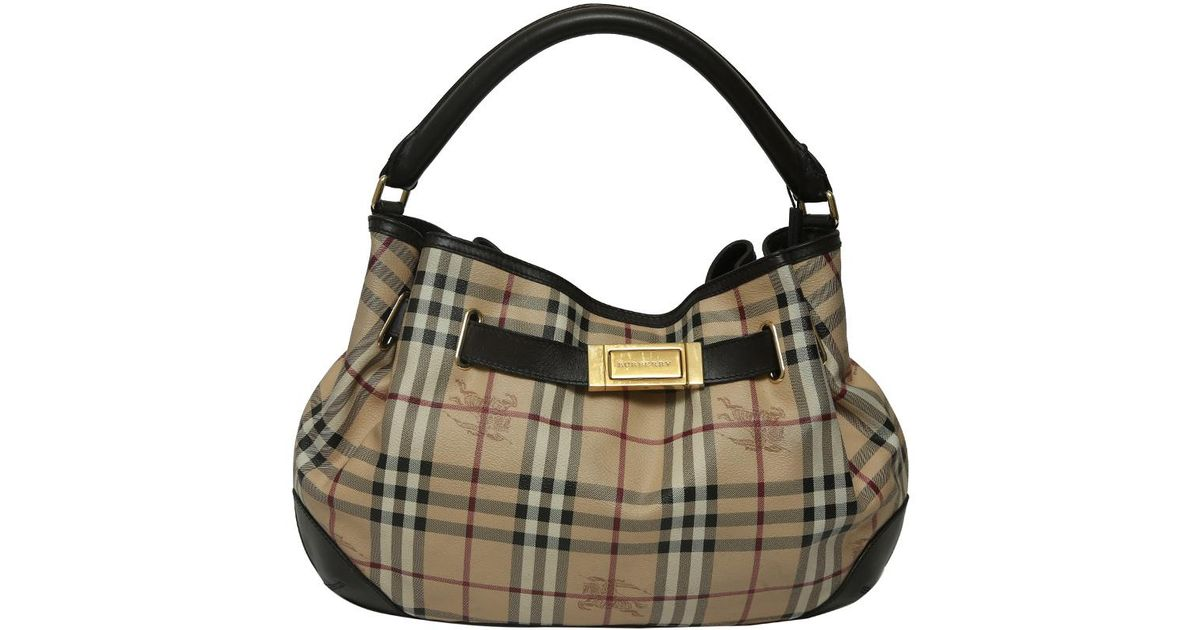 55dd4bc0b290 Lyst - Burberry Haymarket Check Coated Canvas And Leather Shoulder Bag in  Black