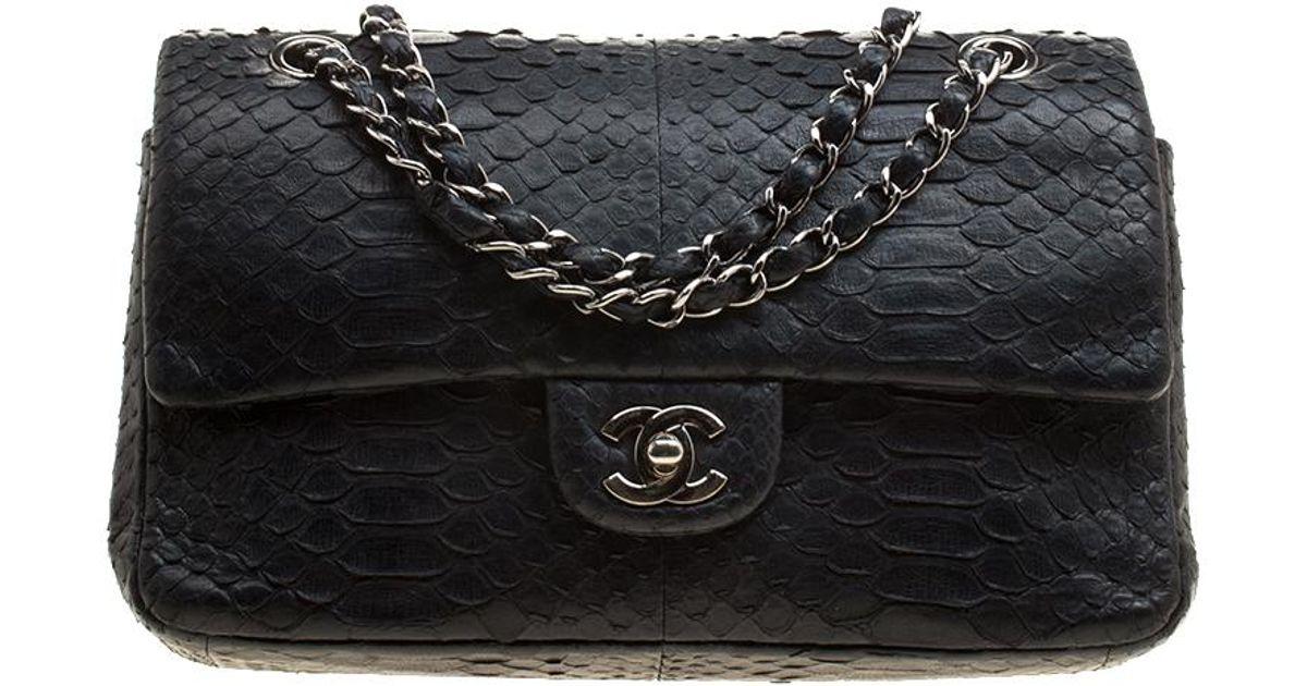026dee7565f615 Chanel Classic Python Medium Double Flap Bag in Black - Lyst