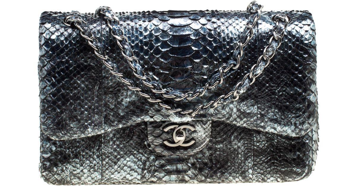 123a87afd5eb Chanel Aquamarine Black Python Jumbo Classic Double Flap Bag in Metallic -  Lyst