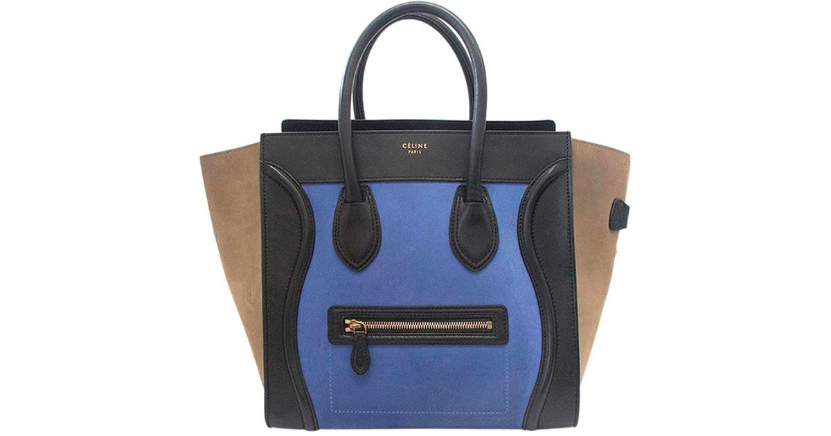 c300d5f9bdc0 Lyst - Céline Tricolor Leather suede Mini Luggage Tote in Blue