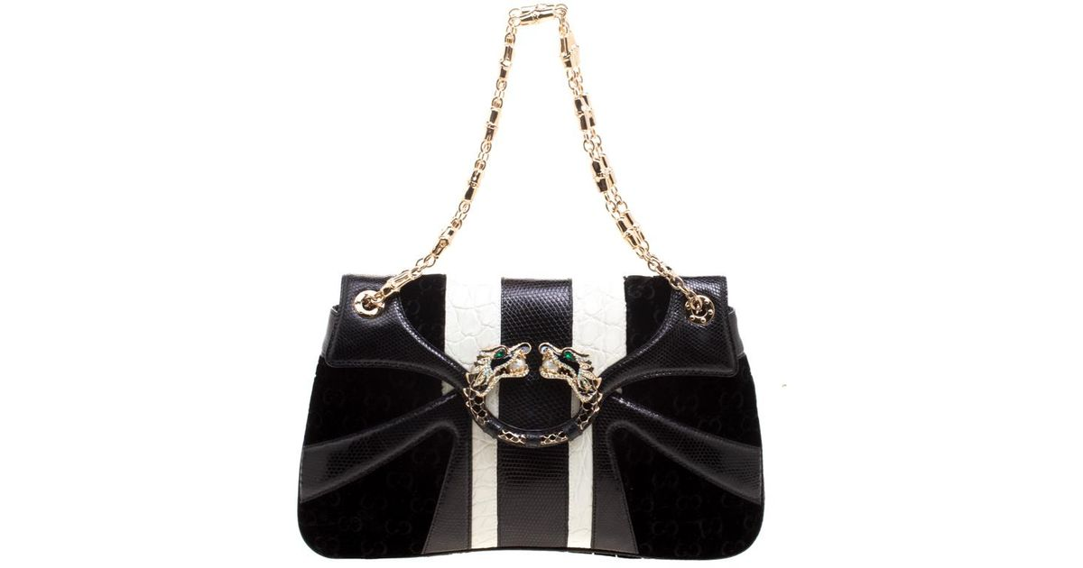 d40561b59d45 Gucci /white Exotic Skin And Velvet Tom Ford Jeweled Dragon Chain Clutch in  Black - Lyst
